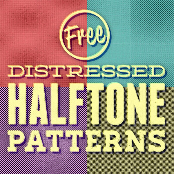 Free Pack of 12 Distressed Halftone Pattern Textures
