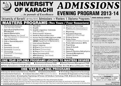 Karachi University Announced Evening Admission 2013