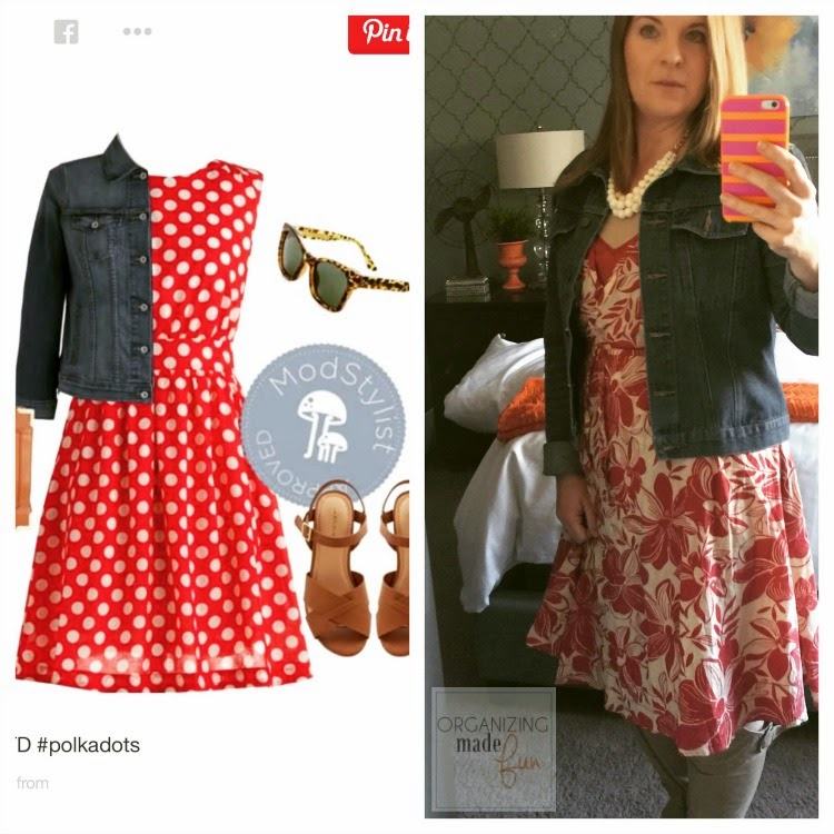"""Fashion Advice"" from an organizing blogger :: OrganizingMadeFun.com -- patterned red wrap dress, denim jacket, boots"