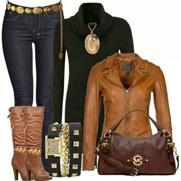 Amazing brown jacket, black sweater, jeans high heel boots and hand bag for fall