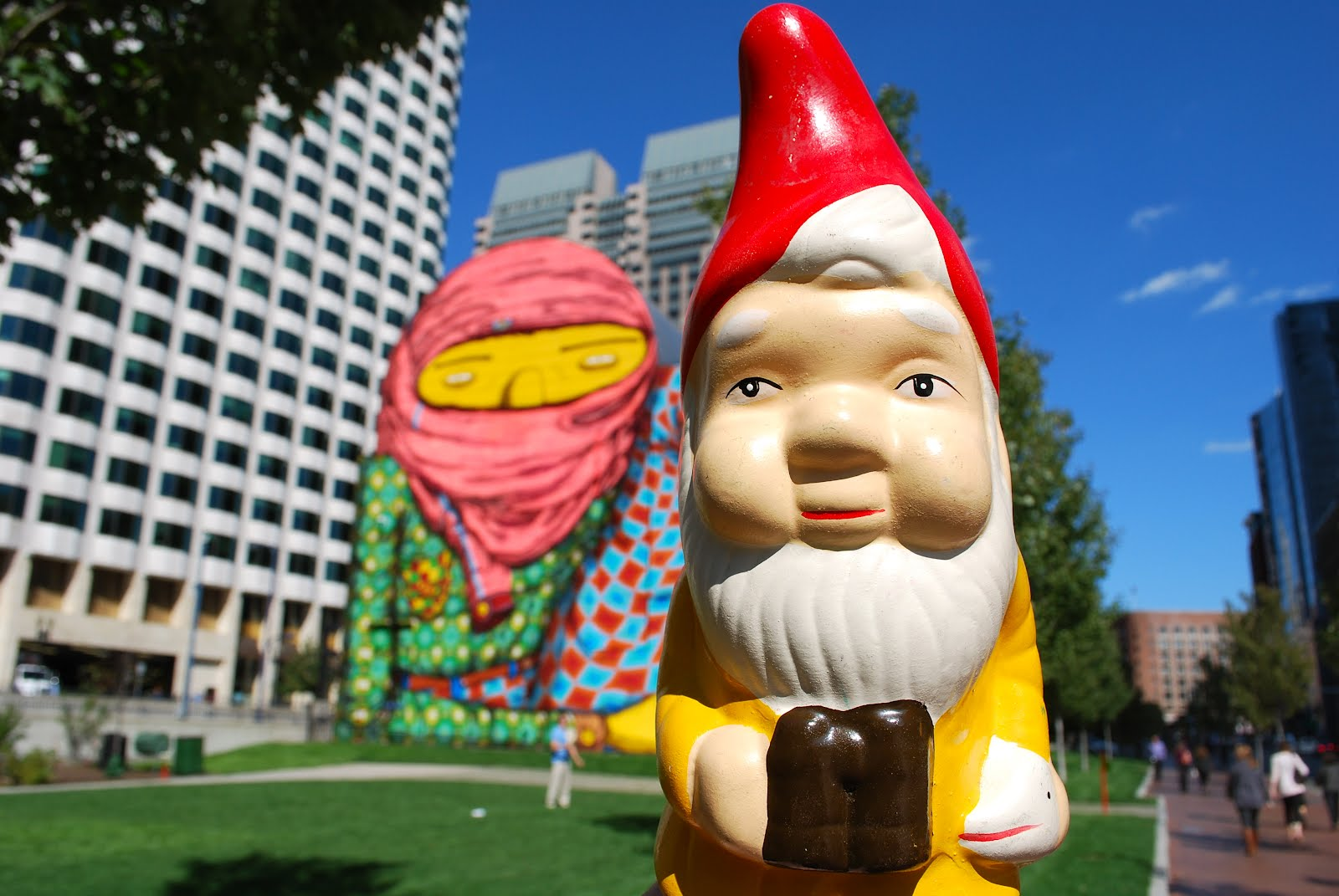 The boston garden gnome dewey square os gemeos mural on for Boston dewey square mural