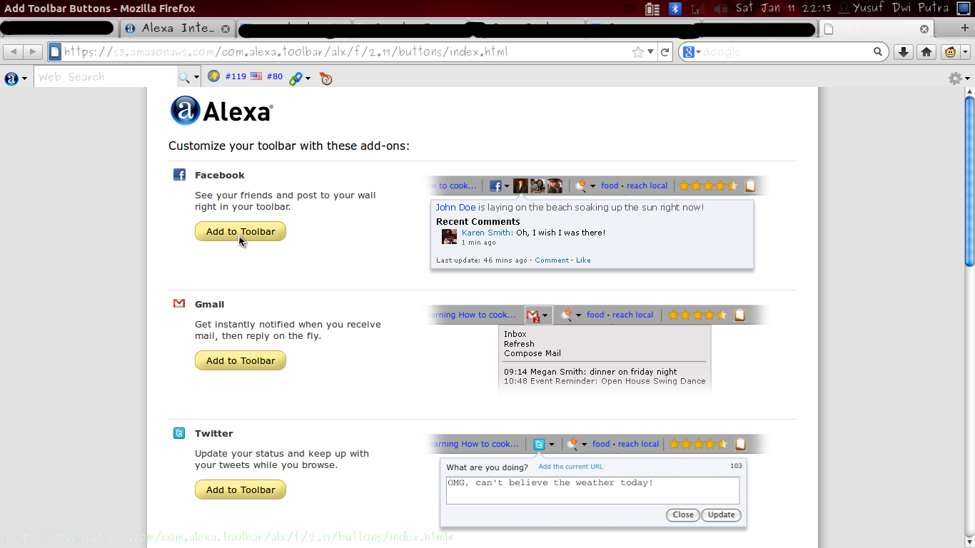 Install Alexa Rank Toolbar di Mozilla Firefox
