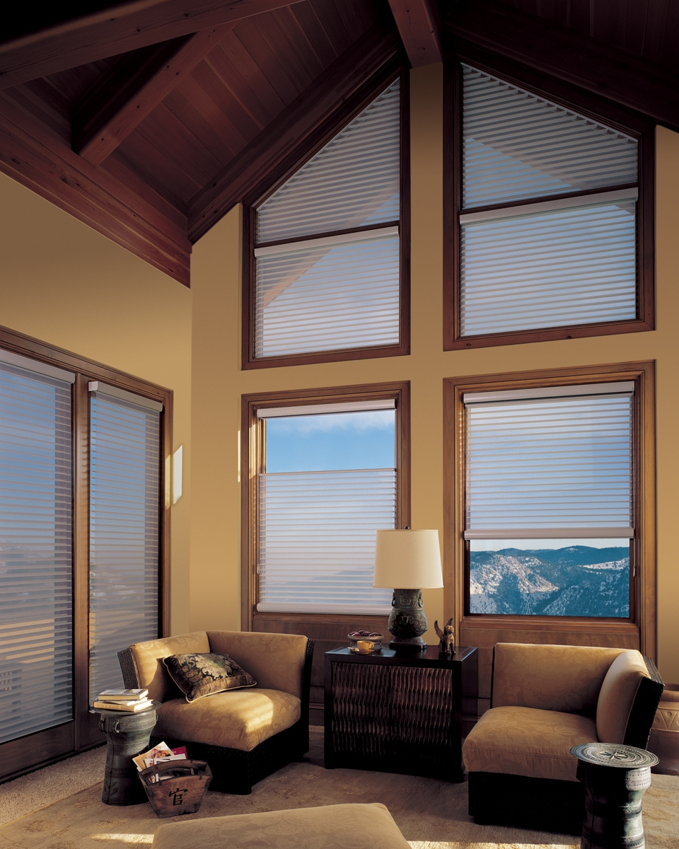 Window fashions covering odd shaped windows for Window treatments and blinds