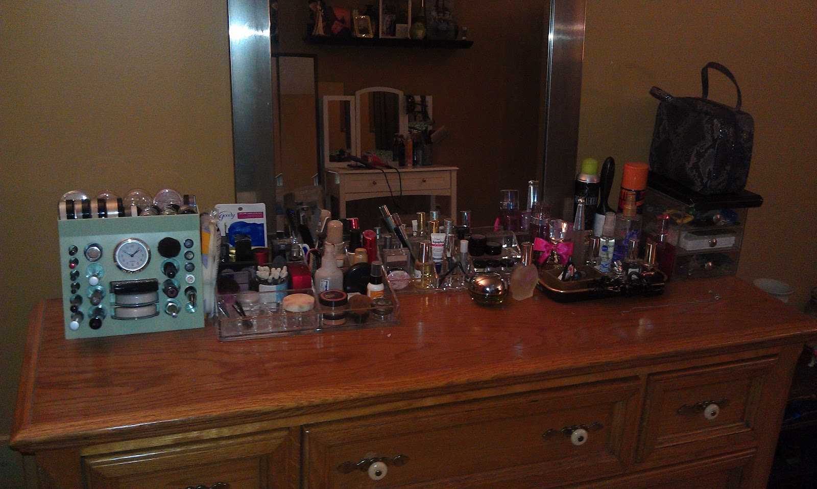 And Ended Up Organizing My Dresser Top Where All Makeup Is When I Say Organized Mean Everything Facing The Same Direction