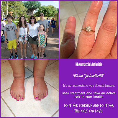 """Rheumatoid arthritis is not """"just arthritis"""" it is not something to ignore. Seek treatment and take an active role in your health. Do it for yourself and your family."""