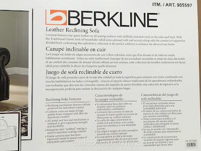 Berkline Leather Reclining Sofa – Classic look, additional comfort