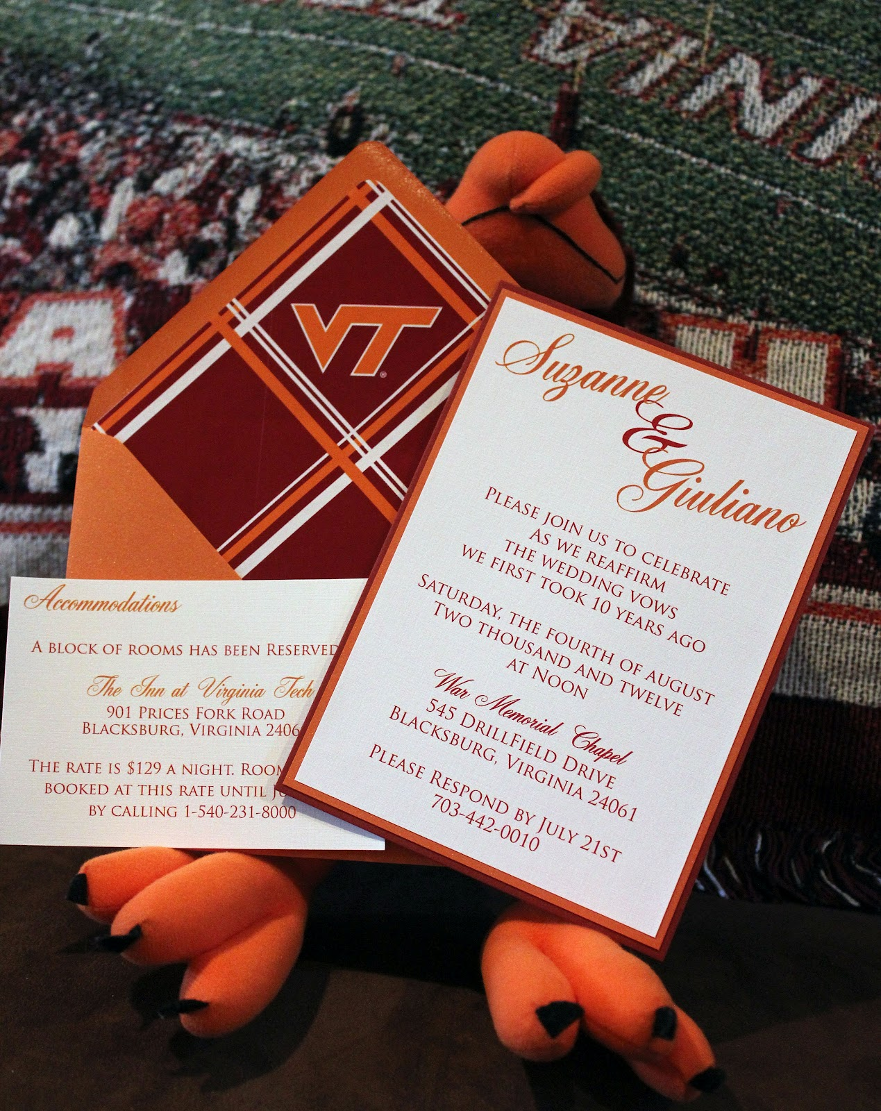 RSVP by Invite Me: Virginia Tech Vow Renewal Invitations