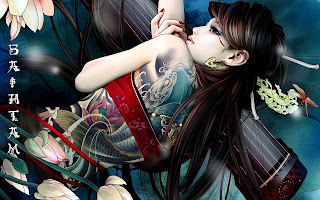 Beautiful Cool Girl Back Tattoo Anime HD Wallpaper Desktop PC Background 1803