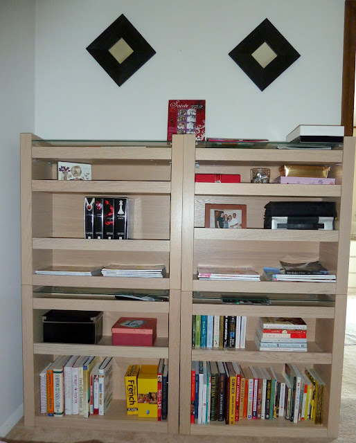 Bedside console becomes library