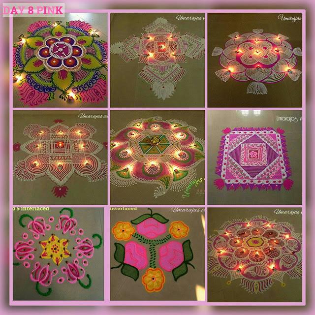 Navaratri Rangoli Day 8 - Pink