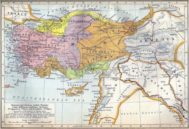 Каппадокия на карте Малой Азии во времена Римской империи