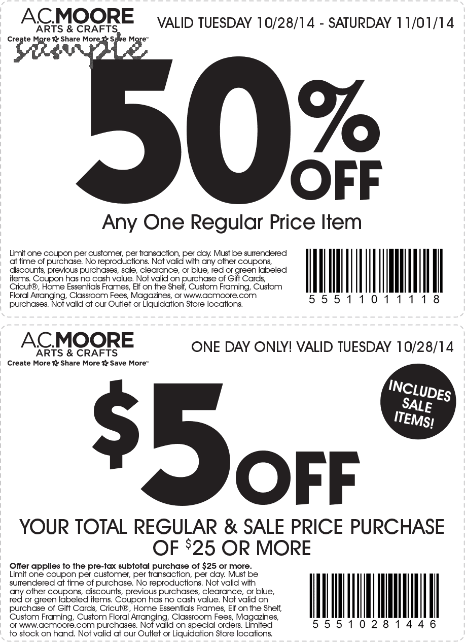 Today's top AC Moore offer: 50% Off Any One Regular Priced Item. Get 50 AC Moore coupons and promo codes for December