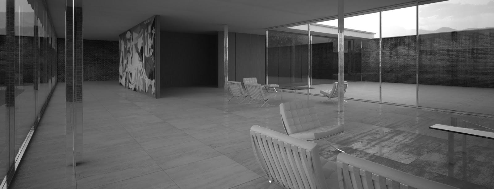 Jose jaraiz casa con tres patios mies van der rohe for Casa minimalista de mies van der rohe