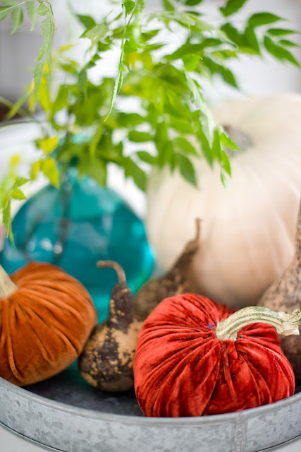 Pumpkins and greenery centerpiece