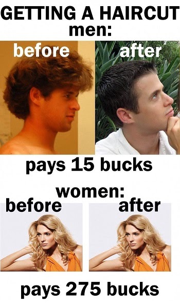 Men v/s Women haircut Humor Cartoon