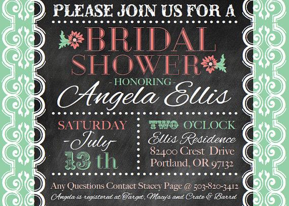 mint coral bridal shower invite