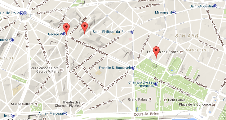 Travel horizons car free first sundays on the champs elys es for Paris hotel map