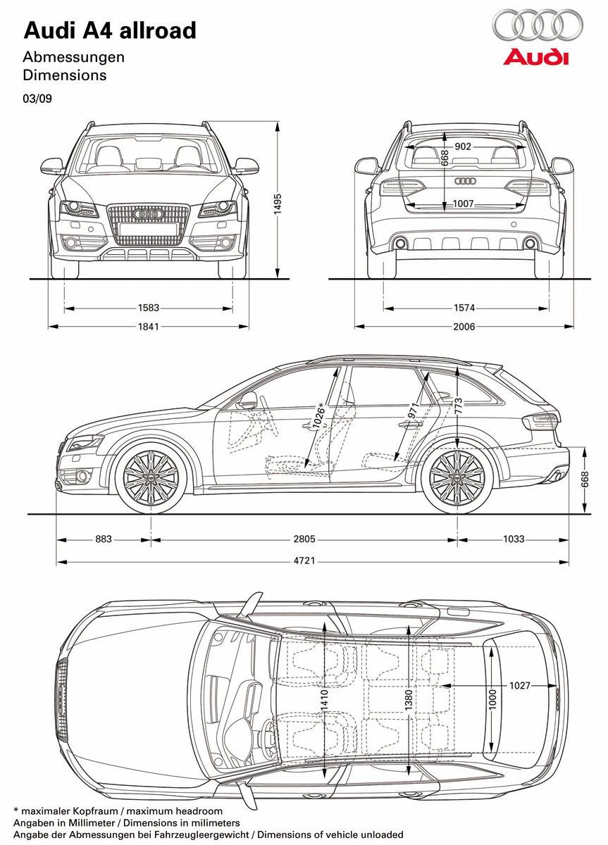 Car Blueprints And Free 3d Models Blueprint Audi A4