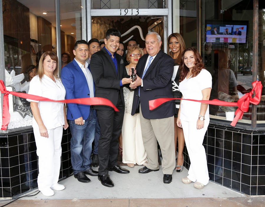 CorpoBello president David Diaz and Coral Gables Mayor Jim Cason are seen during the grand opening of CorpoBello Anti Aging and Wellness Center in Coral Gables