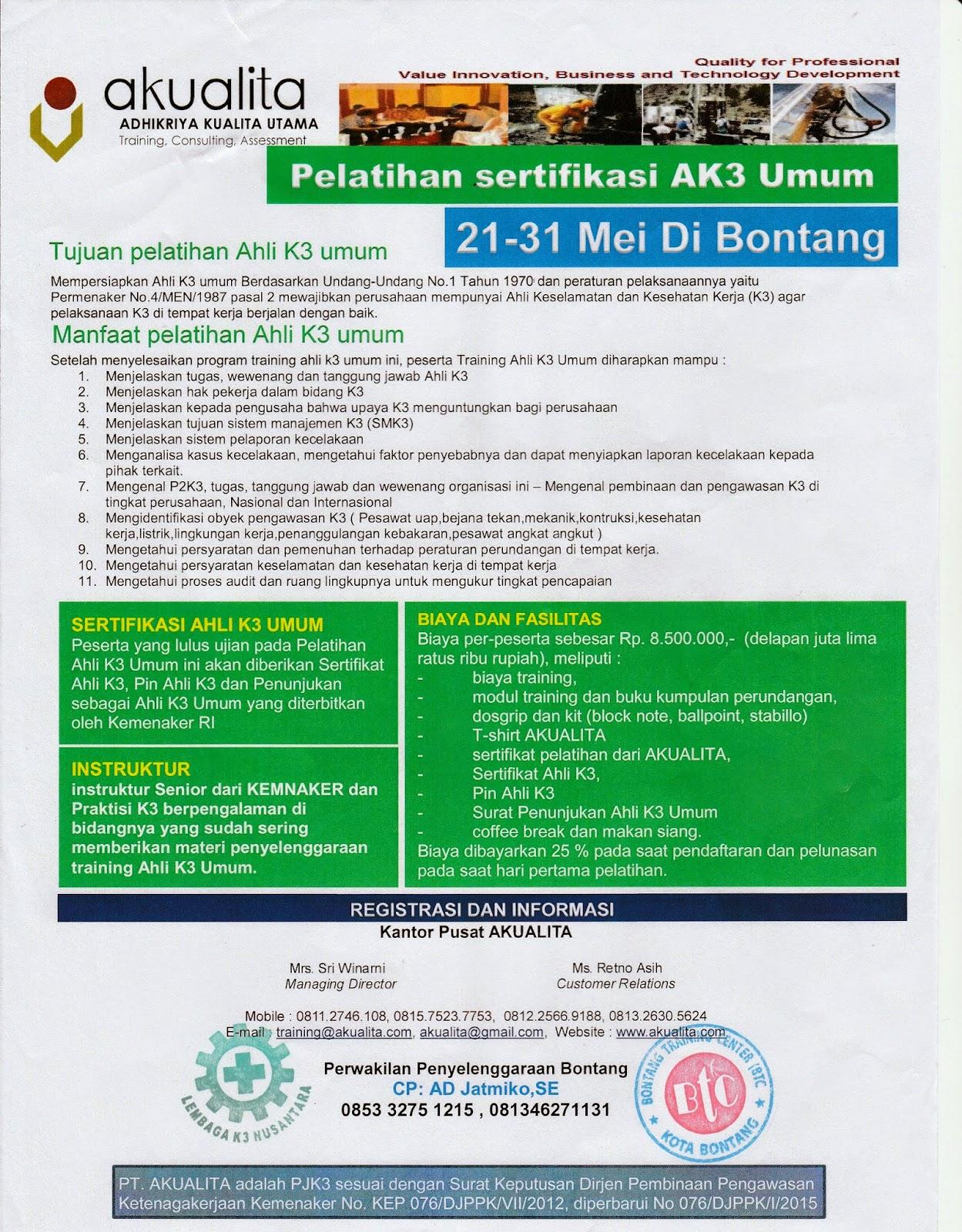 Informasi Pelatihan Akualita Sertifikasi AK3 Umum