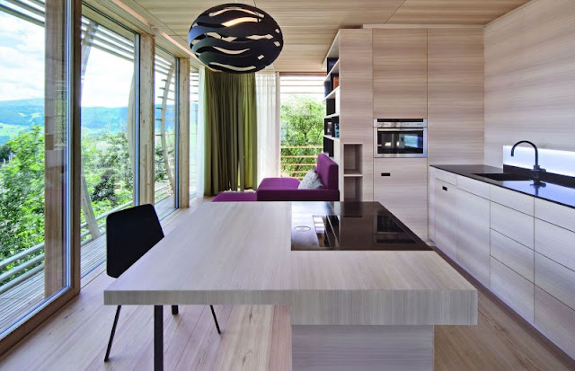 Brown Colored Kitchen Table Made from Wooden Material and Silver Stainless Faucet