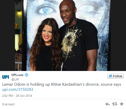 Lamar Odom Reportedly Refuses to Divorce Khloe Lardashian
