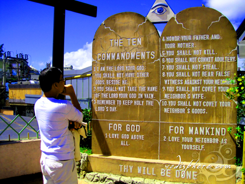 Ten commandments posted at the cathedral entrance