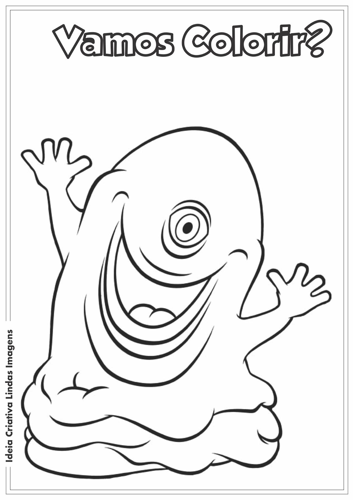 Desenho pra colorir Monsters vs Aliens