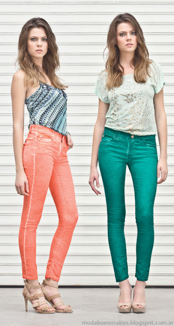 Markova jeans de colores moda verano 2014. Pantalones de mujer 2014.