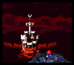 Super Mario RPG looking at Bowser's castle impaled with sword