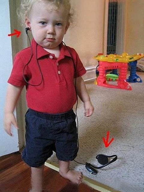 Funny Kid Wearing Headset - Like A Boss!