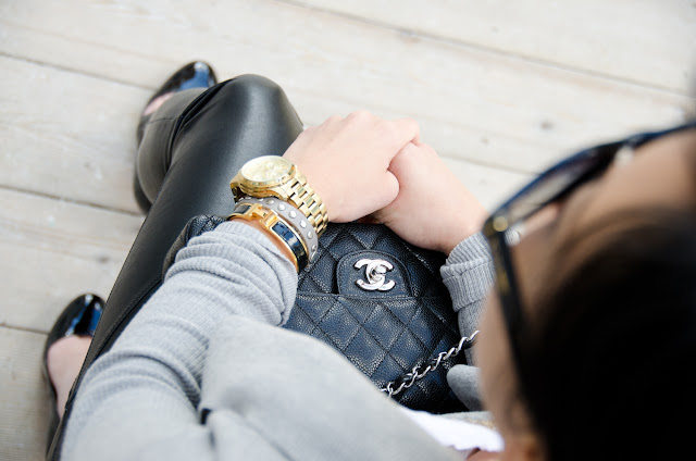 sweater coat, Theory, leather leggings, Louboutin Ron Rons, Chanel classic flap, stacked bracelets