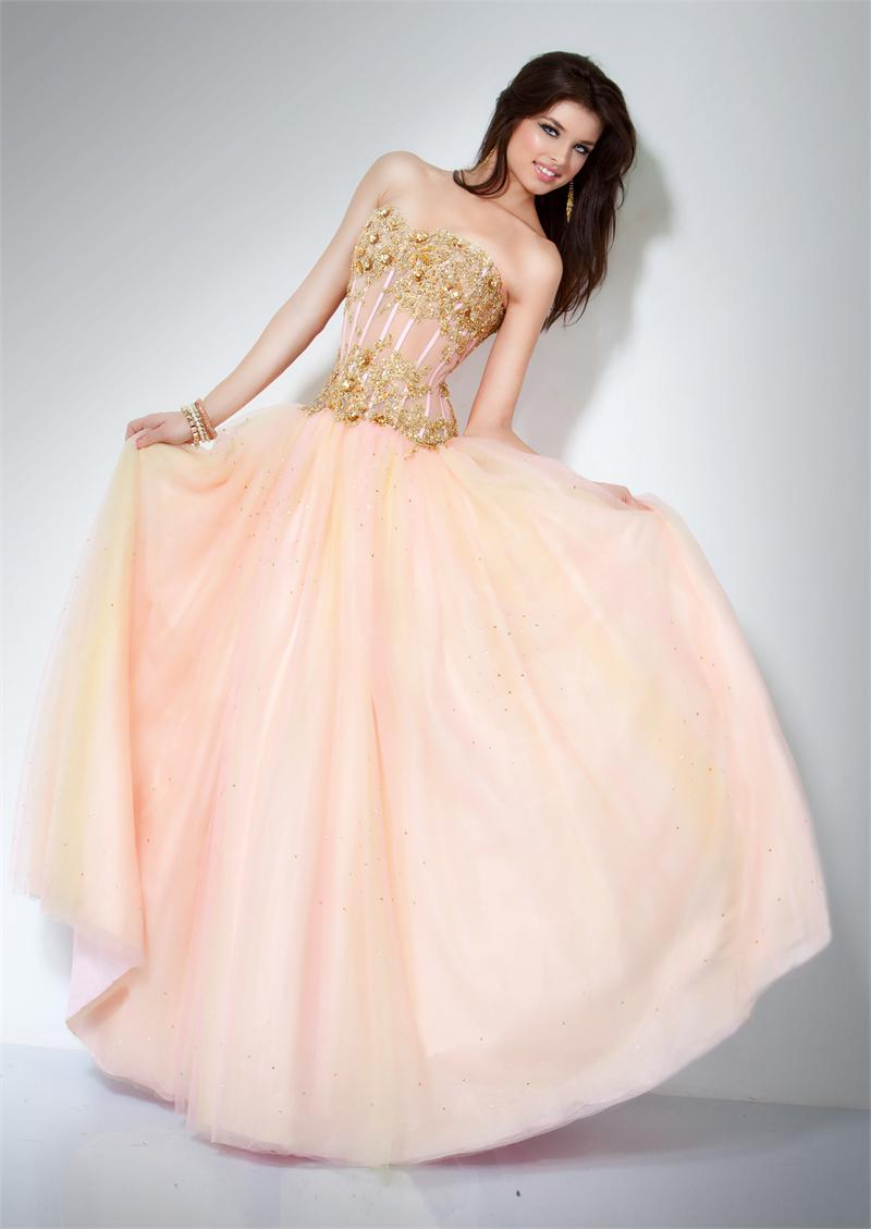 Zaphon prom pink wedding for Pink and gold wedding dress