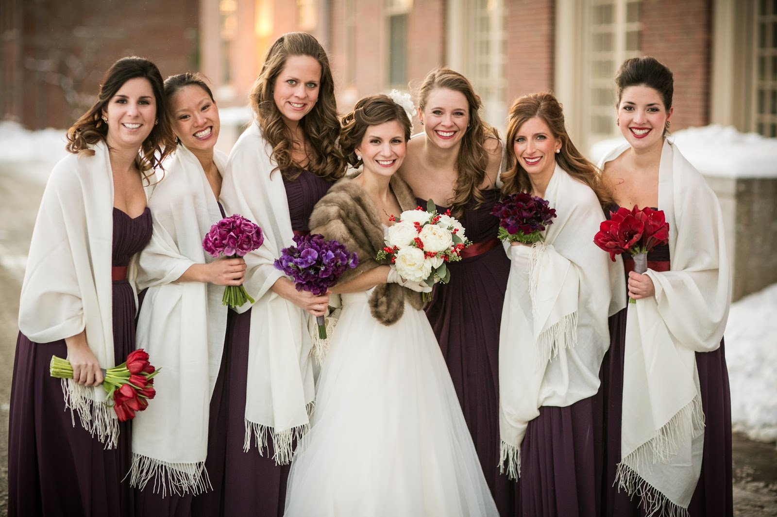 bridesmaids in purple : red & purple flowers : winter wedding : saint augustine parish : les fleurs : zev fisher photography