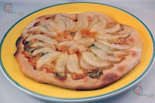 Pizza de pera y roquefort.
