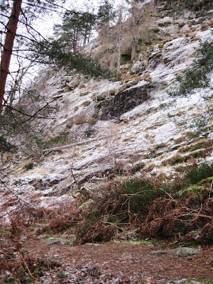 Walking past the crags on Craigendarroch, Deeside