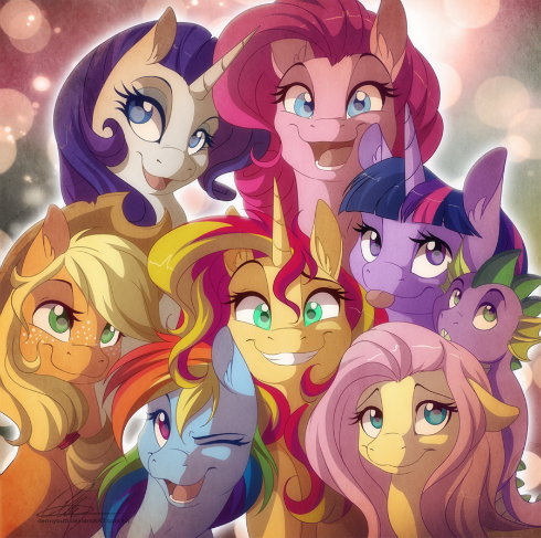 After seeing Rainbow Rocks yesterday I so badly wanted to draw Sunset Shimmer with the Mane six, Friendship is Magic!