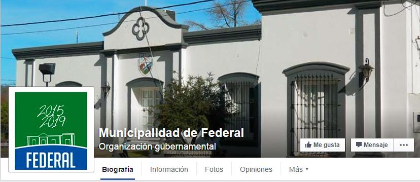 FACEBOOK DE LA MUNICIPALIDAD DE FEDERAL