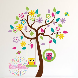 Vinilo decorativo infantil arbol buhos cdm vinilos for Vinilos decorativos pared infantiles