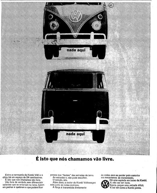 Propaganda da Kombi veiculada em 1965 que destacava o vão livre do veículo.