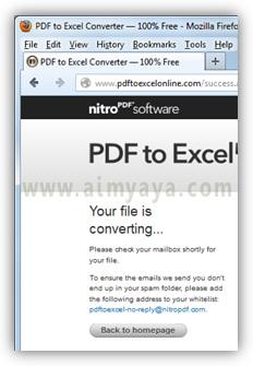 Gambar: Konfirmasi dari hasil konversi dari website PDF to Excel