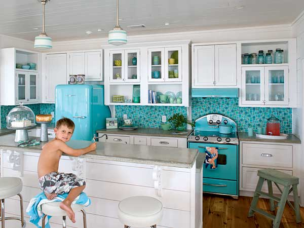 Gone coastal in a non coastal town coastal kitchen for Coastal kitchen designs