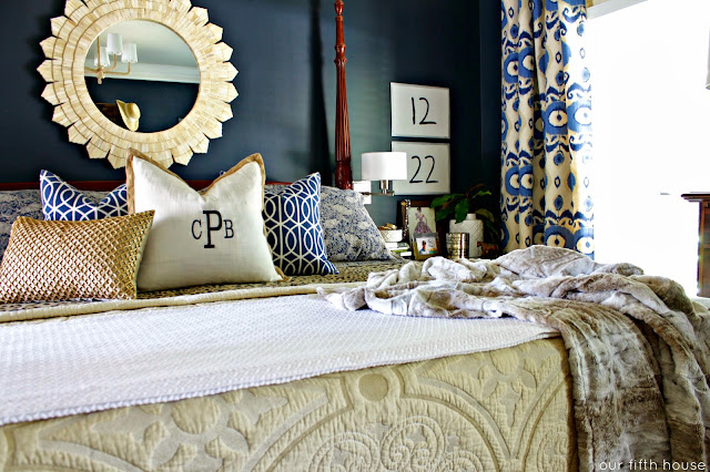Navy Walls and Leopard Sheets