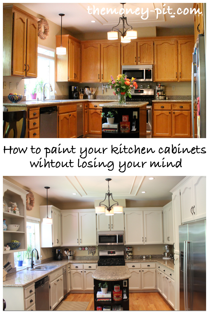 How to paint your kitchen cabinets without losing your for Painting kitchen cabinets