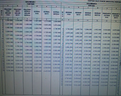 Daftar Tabel Kenaikan Gaji Anggota TNI 2013
