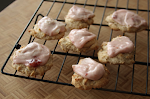Buttery Strawberry Jam Cookies with Crystallized Ginger & Strawberry Cream Cheese Frosting