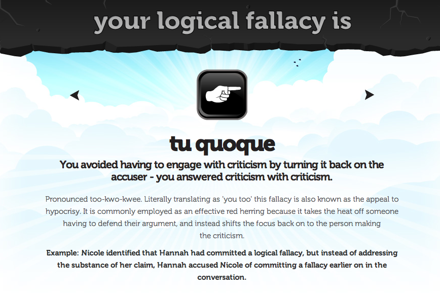 Eville Times Logical Fallacy 7 Tu Quoque
