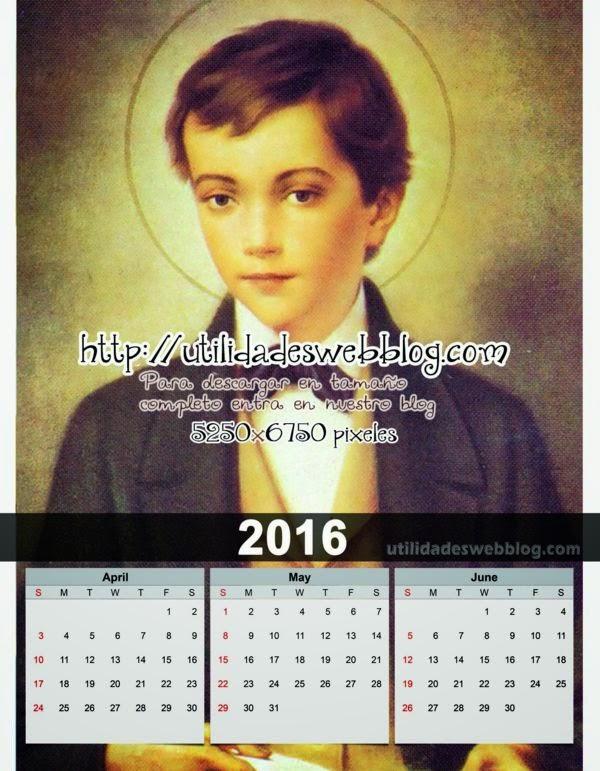 Calendario católico trimestral 2016 Abril Mayo y Junio para imprimir de Domingo Savio