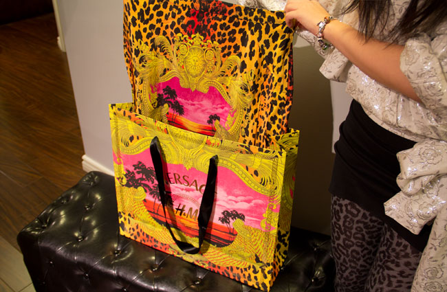 Versace for H&M, Shopping bag, Versace for H&M shopping bag, versace signature print skirt