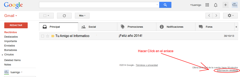 Información detallada Gmail